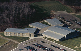 Current Lansing Christian School building as seen from the air