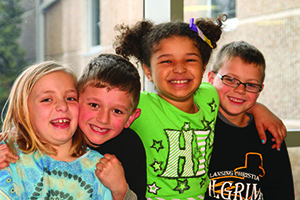 Lansing Christian School elementary students involved in the student ambassador program.