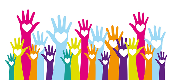 Multi-colored hands raised to volunteer