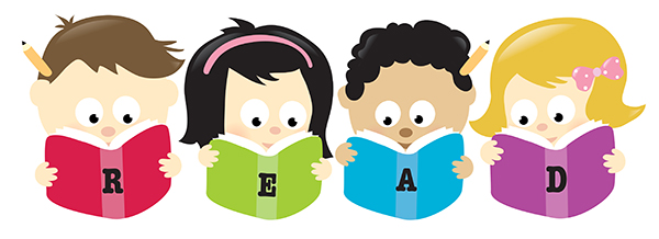 Clipart of children with books
