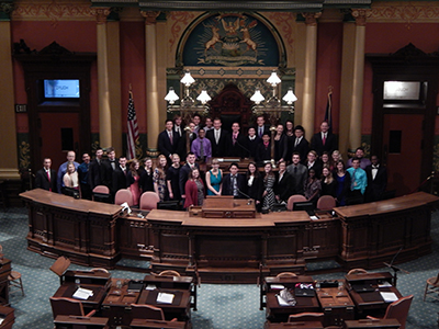 Lansing Christian School 2015 seniors at the conclusion of their SSI experience at the State Capitol