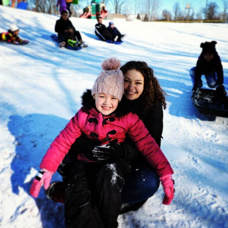 Who's having more fun here? #Kindergarten students or their #Senior buddies? #sledding #LcsConnects #LCSgram