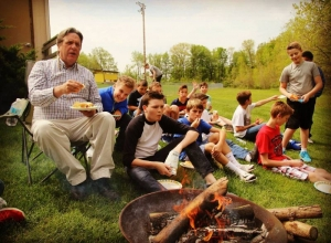 Today Mr. Hebden's Wilderness Lunch celebrated his decades of service to LCS.  Don't forget to be here at 2:30pm for the official assembly! #LcsServes #LCSgram