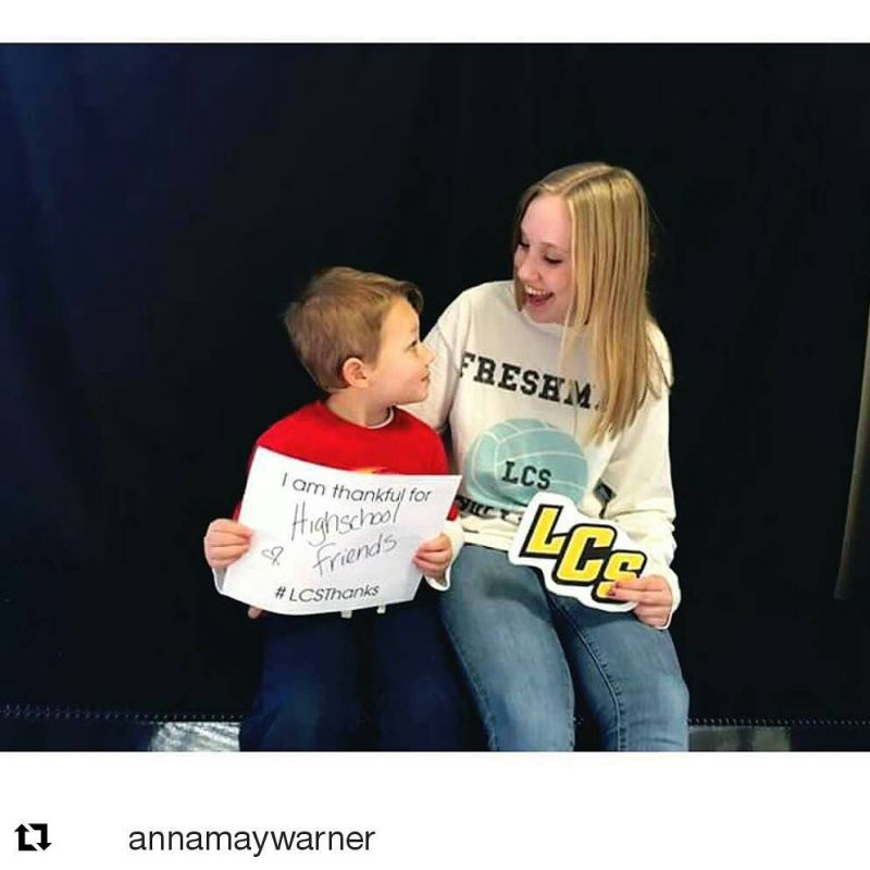 #Repost @annamaywarner our high school winner of a Biggby gift card! ・・・ Will is thankful for his high school friends and I'm thankful for my 3 year old friend! 💕 #lcsthanks @lcspilgrims