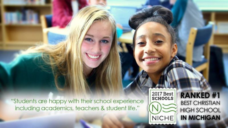 "The happiest students in Michigan! According to Niche, earning a high ""Best Schools"" ranking generally means that ""students are happy with their school experience, including academics, teachers, and student life."" LCS is ranked the #1 Best Christian High School in Michigan!  #LCS_Excels #LCS_HaveItAll (photo by senior Abby K.)"