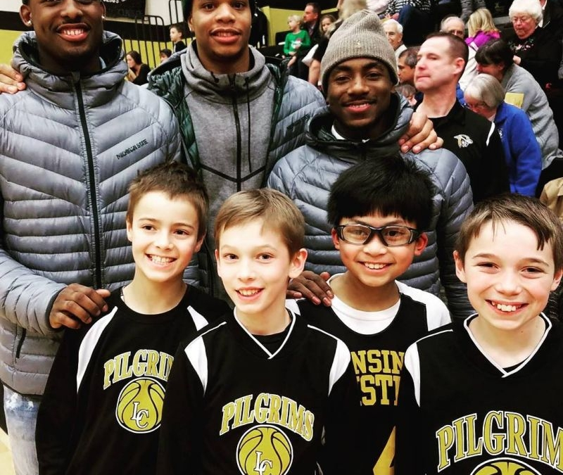 Anybody know what these 4th/5th grade boys are so happy about? . . . . .  @tum_tum11 @therealjlang @milesbridges22 #heroes