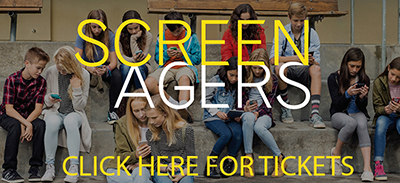 Advertisement for the film ScreenAgers which can be clicked on to go to a site to order tickets
