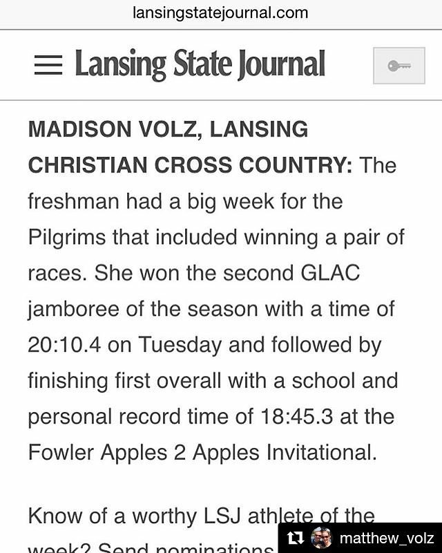#Repost @matthew_volz ・・・ Please Vote for Maddy for Lansing State Journal's Prep Athlete of the Week!  Link to Vote is in my Bio.  #lansingstatejournal