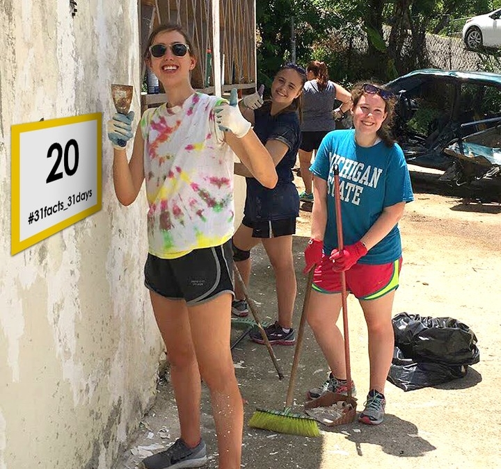 20 hours of community service: Every high school student serves each year in a variety of ways. In this photo, three of our seniors serve in the Dominican Republic during the summer. #LCS_Serves #LCS_highschool #31facts_31days #LCS_Serves www.lansingchristianschool.org/admissions/campus-visits