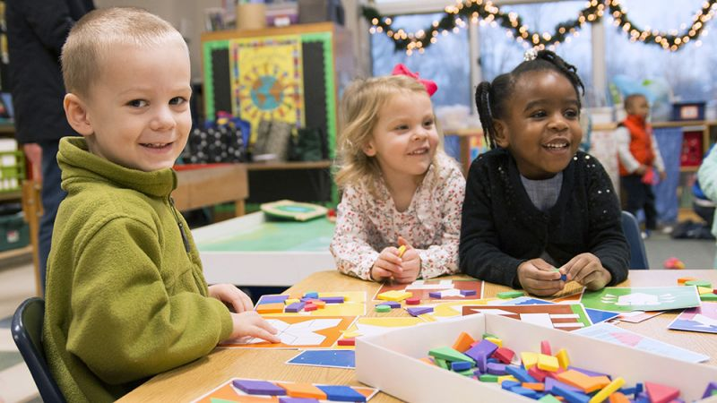 Lansing Christian School preschoolers at play