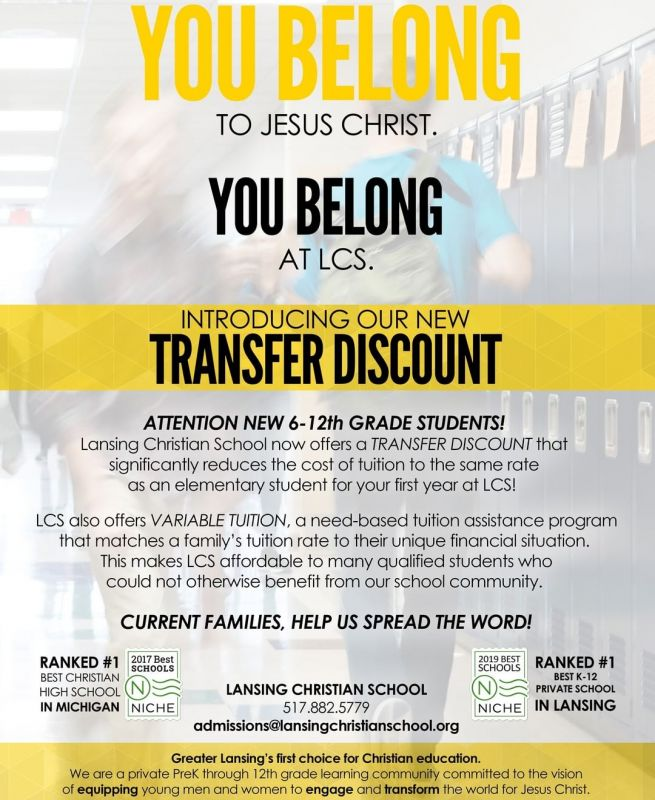 ATTENTION 6-12th Grade Students! We now offer a TRANSFER DISCOUNT that significantly reduces tuition for your first year at LCS. http://ow.ly/r6nk30nLDN1