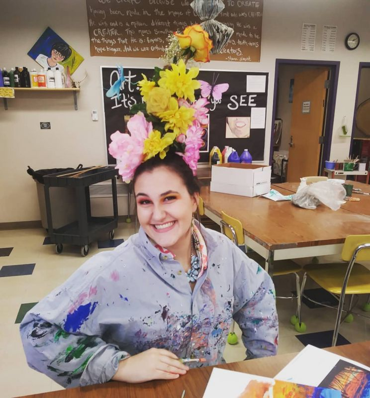 Sometimes it's something like Crazy Hair Day that inspires a work of art. It's hard to tell where her hair ends and the art room begins! Welcome to Spirit Week, Pilgrims. This is how we do it! #lcsspiritweek