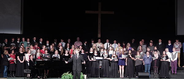 Combined choirs at Christmas Concert 2013