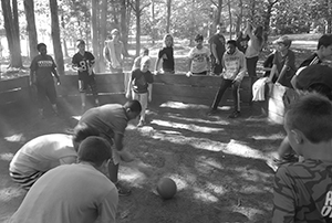 Lansing Christian School middle school students playing bocci ball at the 2015 retreat.