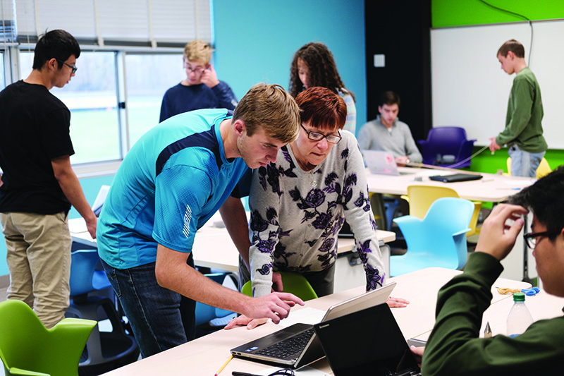 Lansing Christian School High School Students in the Innovation Lab
