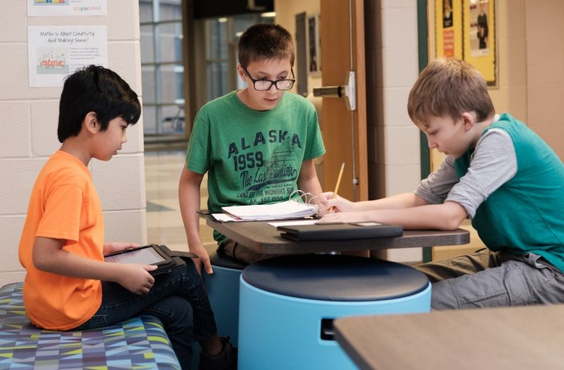 Lansing Christian School Middle School students collaborating