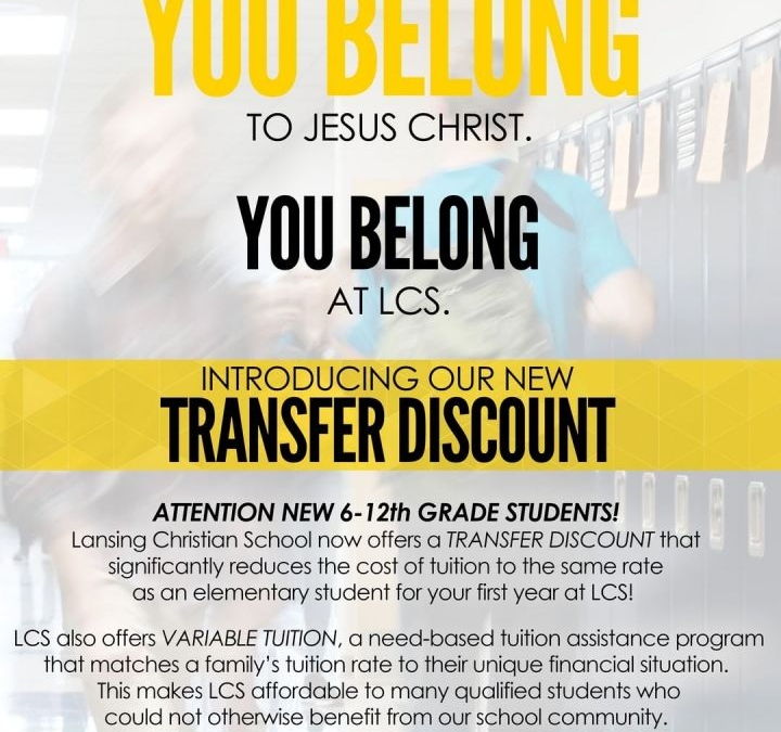 You belong to Jesus Christ. You belong at LCS. Introducing our new Transfer Discount! Now it's easier than ever for middle and high school students to transfer to LCS. #IBelongAtLCS http://ow.ly/SV8O30o6Qvo
