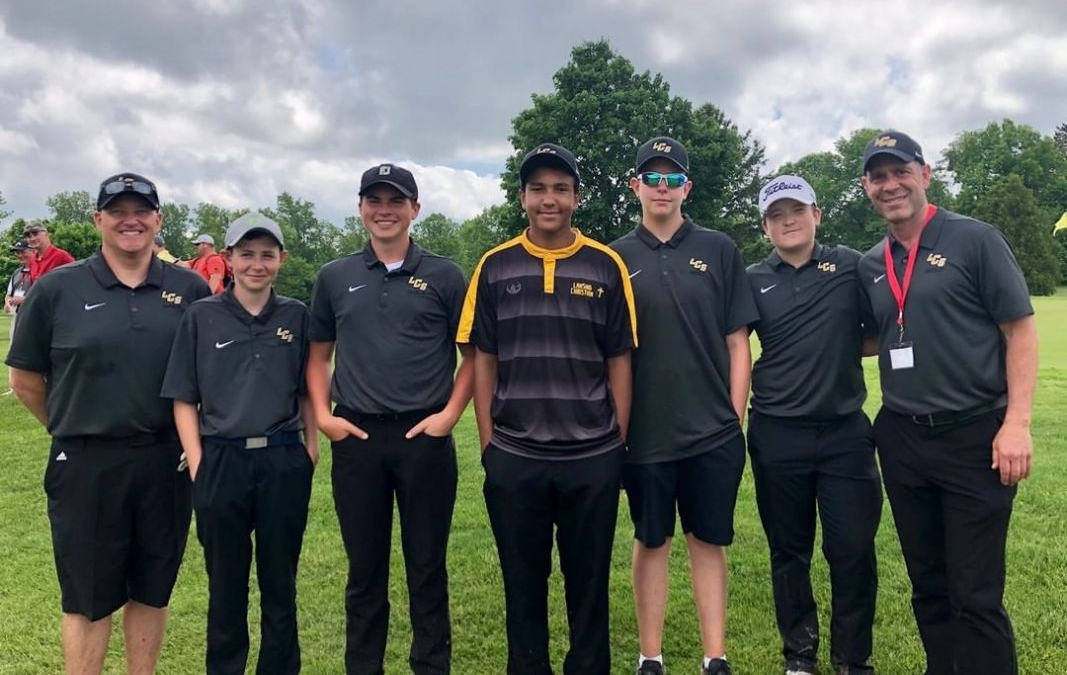 The LCS Boys Golf Team qualifies for State for the 3rd consecutive year – this time with four freshman and a sophomore! Congratulations to Sam Harvey, Phil Curry, Isaac Haley, Davis Garrett & Trevor Dunsmore! These students will compete in the two day 36 hole event next Fri/Sat at GVSU (The Meadows Golf Course). Go Pilgrims!!! www.lansingchristianschool.org