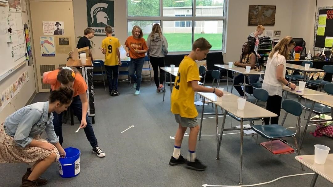In 7th grade Social Studies, Ms. Zuke set up a simulation where students needed to create shelter and find water and food to find the best situations for civilizations to flourish. www.lansingchristianschool.org