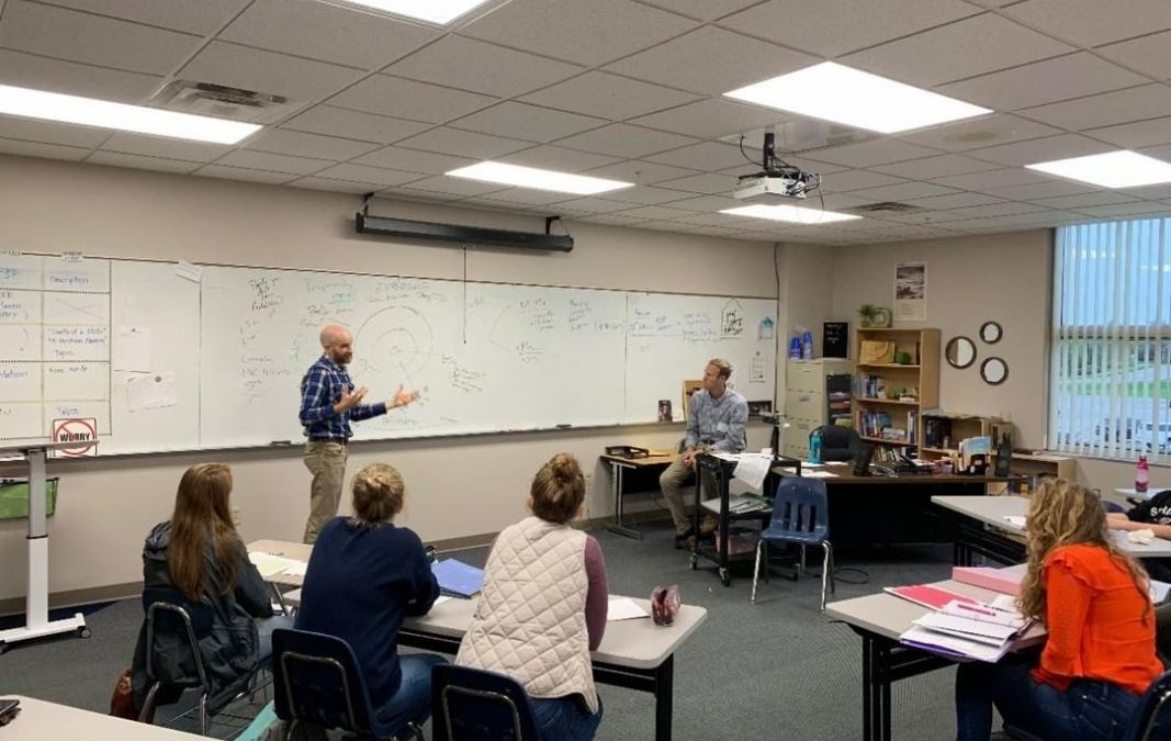 In AP English Literature, Mrs. Chadwick invited professors from Spring Arbor University to guide students through a passage from Augustine. #LCS_HaveItAll www.lansingchristianschool.org