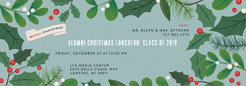 Lansing Christian School Alumni Luncheon Invitation 2019