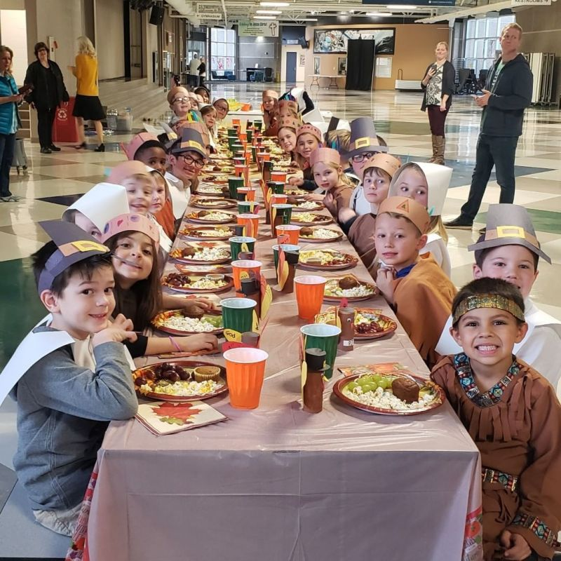"""First grade students learned the history behind the """"First Thanksgiving"""" and celebrated with their own Thanksgiving feast! #LCS_HaveItAll www.lansingchristianschool.org"""