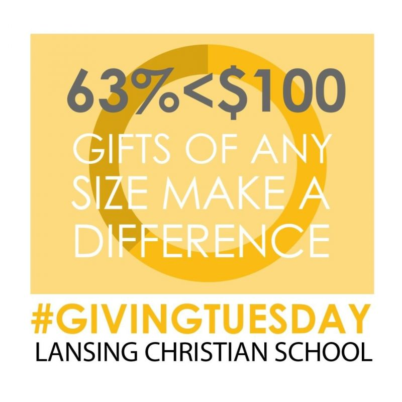 Your gift, big or small, makes a difference! Is this really true? Each year LCS raises a substantial amount of money to help make a quality Christian education accessible to more families in the Greater Lansing area. 63% of those gifts are under $100. Every contribution helps, which means even a small gift matters. Use this #GIVINGTUESDAY as an opportunity to think about how your charitable contributions can have a significant impact, and prayerfully consider making a yearend donation to the LCS Annual Fund. To make a donation go to www.lansingchristianschool.org/support-lcs/annual-fund