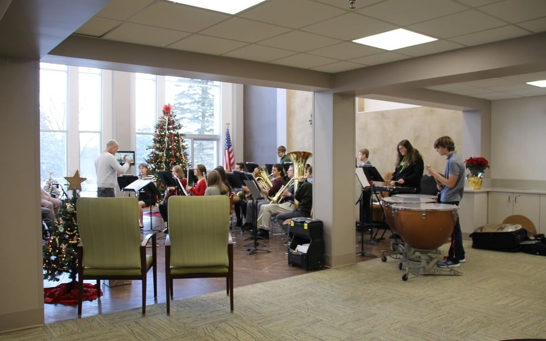 LCS band students spread God's love while playing Christmas music at two assisted living facilities and an Alzheimer facility this week! www.lansingchristianschool.org