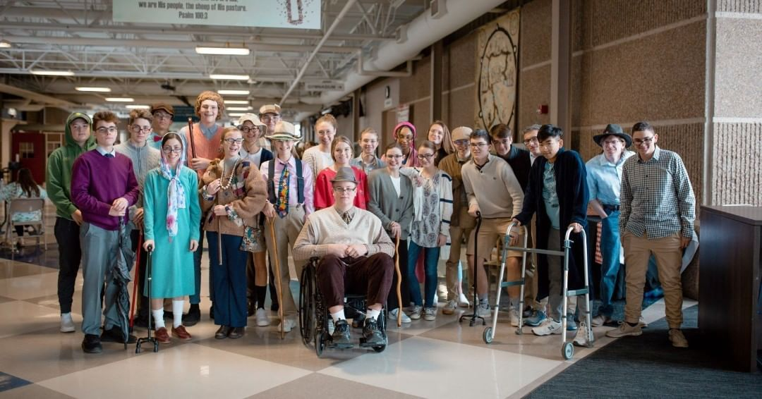 """The junior class dressed up for """"old person"""" day as part of spirit week festivities! #LCS_SpiritWeek www.lansingchristianschool.org/academics/high-school"""